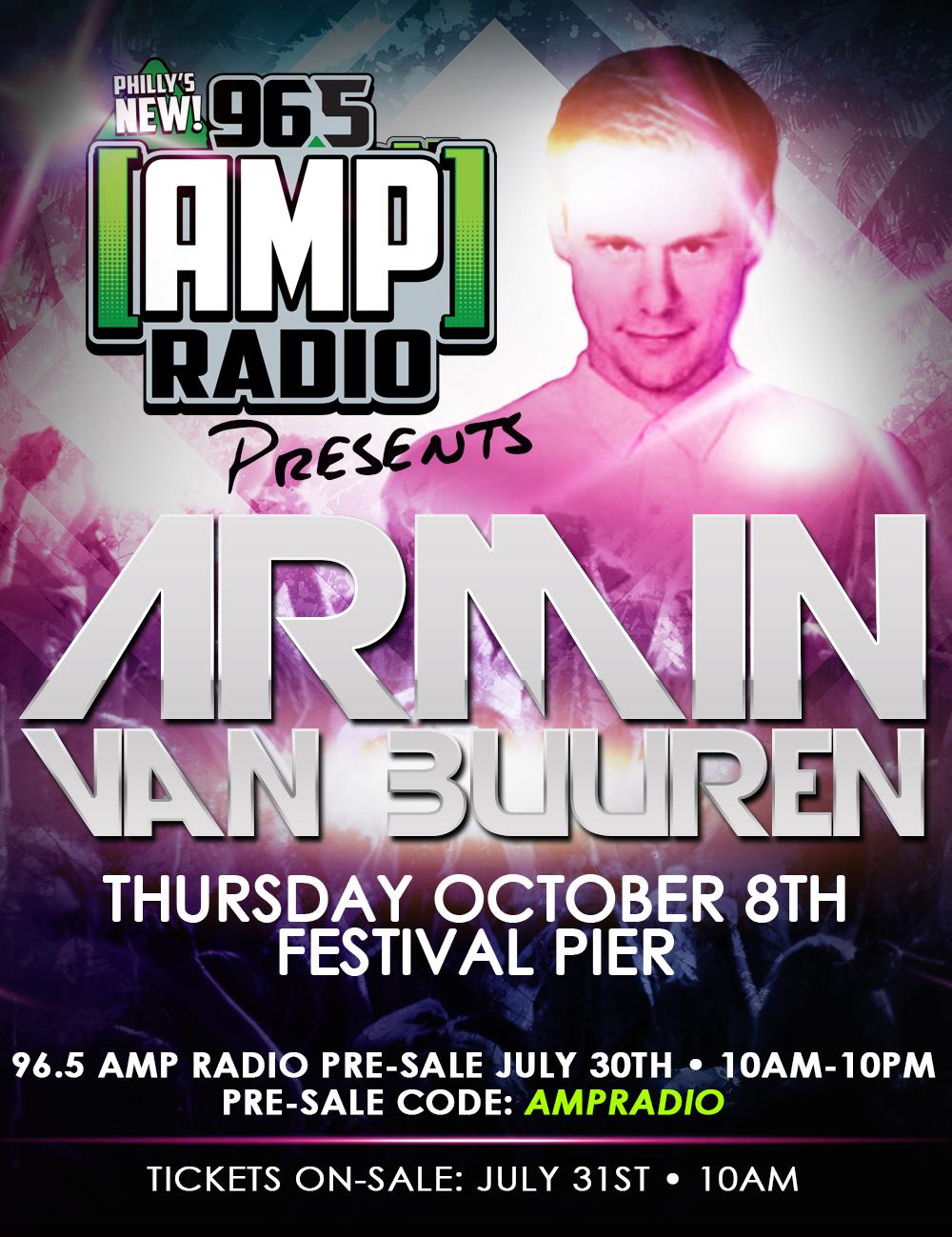 96_5 AMP Radio Presents Armin Van Buuren October 8th